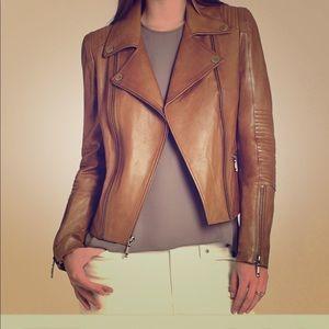 BCBGMAXAZRIA Tara warm brown moto jacket